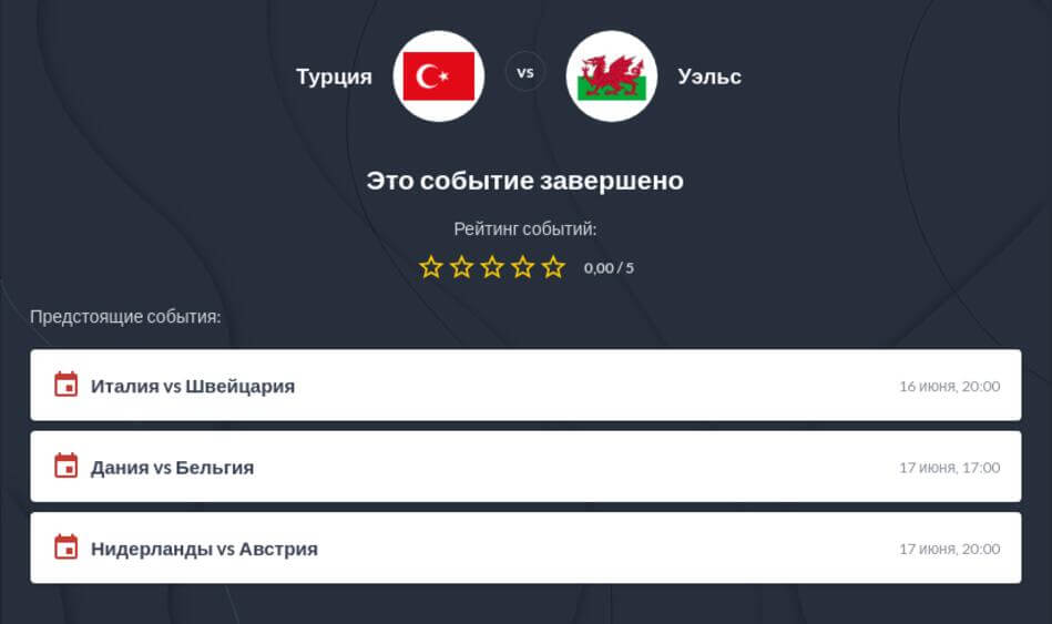 Ставки на матч Турция - Уэльс