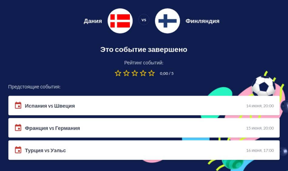 Ставки на Дания - Финляндия